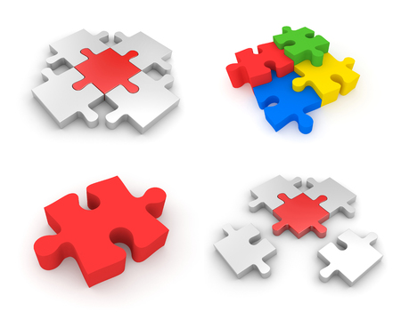 Set of Jigsaw puzzles. 3d illustration
