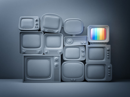 standby: Pile of retro TV with one in standby - night scene. 3d illustration