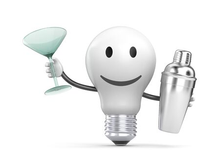 cocktail mixer: The lightbulb with shaker and cocktail glass. 3D character. 3d illustration Stock Photo