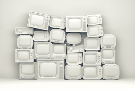toned: Pile of retro TV - white toned. 3d illustration Stock Photo