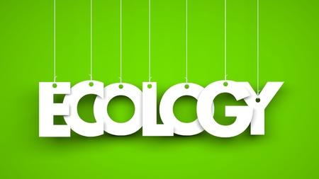 ecology background: Word ECOLOGY hanging on green background. 3d illustration