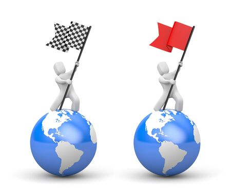 3d man waving flag. Set of two illustration. 3d illustration