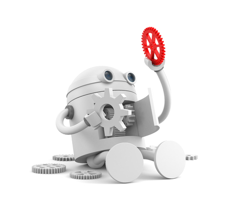 Broken robot with details of its mechanism. For your website projects. 3d illustration
