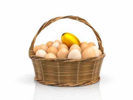 many coloured: Golden egg! Chicken eggs in rattan basket. 3d illustration Stock Photo