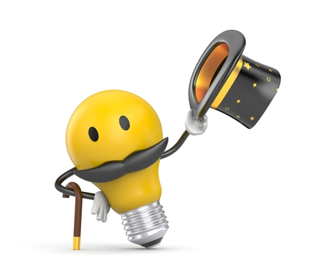 Character light bulb dressed like a gentleman say - Hello. 3D character. 3d illustration Stock Photo