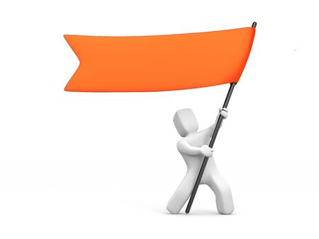 3d man waving red flag. 3d illustration 스톡 콘텐츠