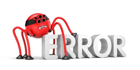 Red robot spider and word ERROR. Internet metaphor. 3d illustration