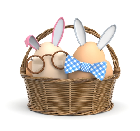 Two Easter Bunny in a basket. 3d illustration 版權商用圖片