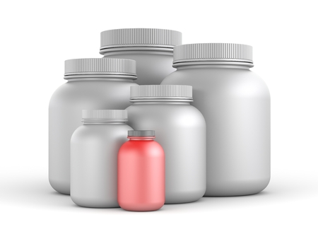 gainer: Cans of protein or gainer powder. 3d illustration Stock Photo