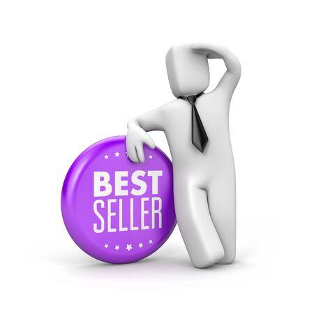 Best seller. Businessman looks over the horizon - Career metaphor. 3d illustration Stock Photo