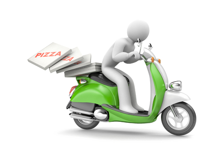 Courier delivers pizza on a scooter. 3d illustration