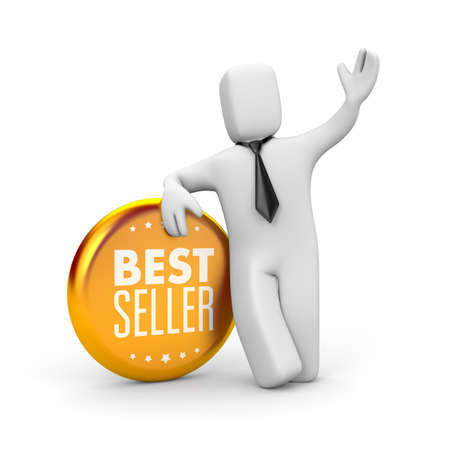 Best seller. Businessman and gold medal. 3d illustration