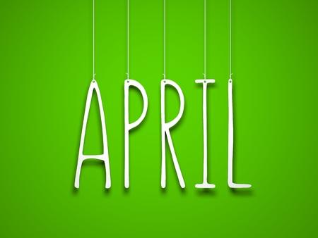 White word APRIL on green background. New year illustration. 3d illustration