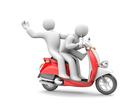 Two people riding on a moped. 3d illustration Stock Photo
