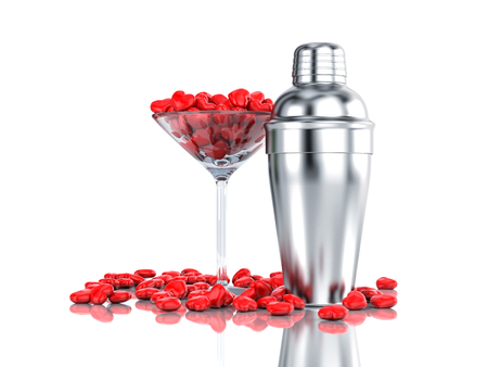 Cocktail glass filled with hearts with cocktail shaker. 3d illustration Stock Photo