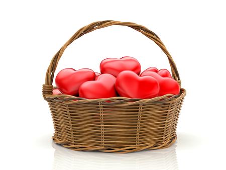 Wooden basket filled with red hearts. 3d illustration