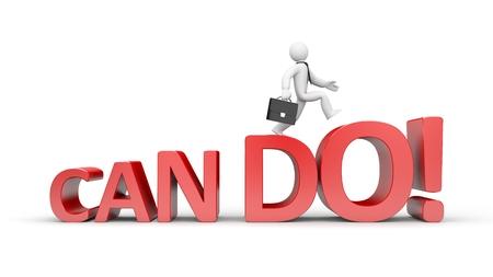 3D businessman running up the career ladder to success