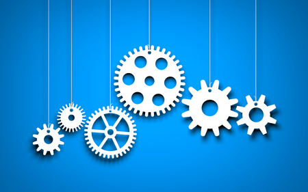White Gears on blue background. 3d illustration Фото со стока