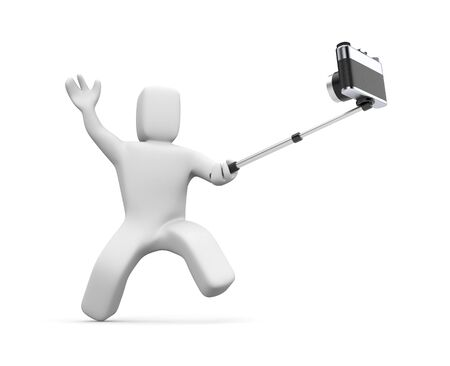 himself: Friends shoots himself. 3d Selfie