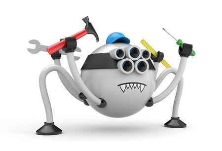 Cartoon character robot spider - handyman