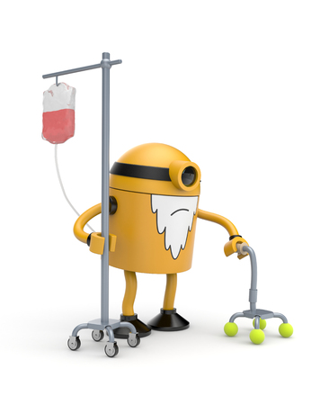 Old robot with dropper and crutch