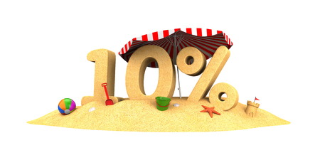 Sale season - 10% - the digits of sand. 3d illustration