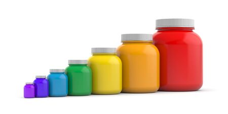 Colored jars with white lids - rainbow. 3d illustration
