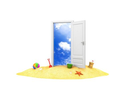 Door to summer holidays. Door on the sand. 3d illustration