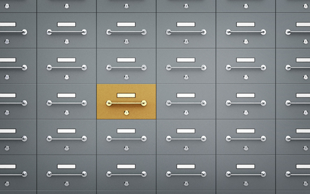 Safe deposit boxes - with one different. 3d illustration Stock Photo