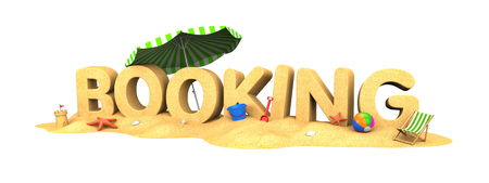 Booking - the word of sand and umbrella. 3d illustration