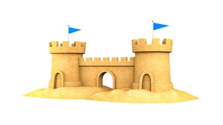 Sandcastle on the seaside. 3d illustration