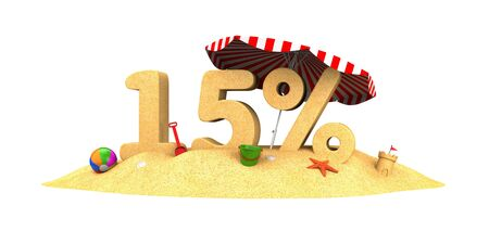 isolate: Sale season - 15% - the digits of sand. 3d illustration