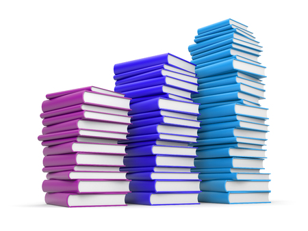 poet: Books stack. 3d illustration