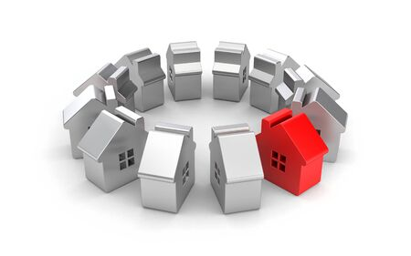 which one: Steel figures of houses one of which red. 3d illustration