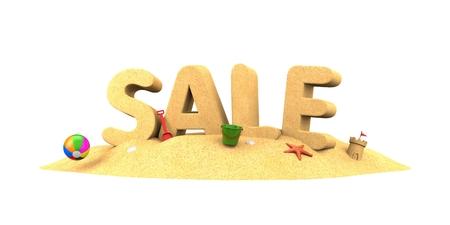 isolate: Sale season - word of sand. 3d illustration
