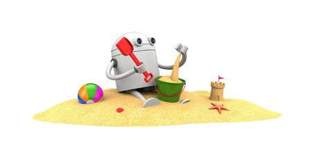 Robot plays in the sand with toys. 3d illustration Stock Photo