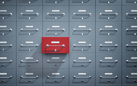 Safe lockers and one of which open and red. 3d illustration Reklamní fotografie