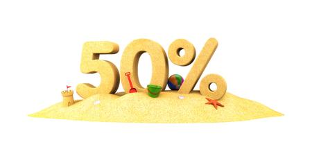 Sale season - 50% - the digits of sand. 3d illustration Stock Photo