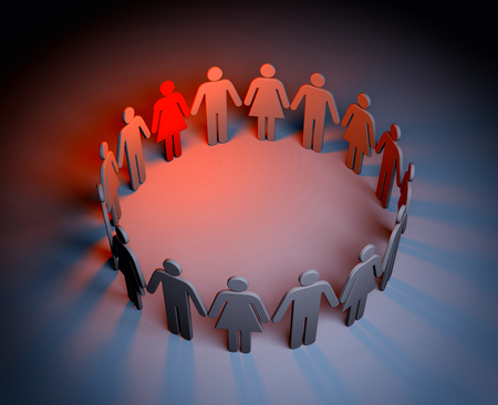 Circle of people - one of which is red and standing out. Stock Photo