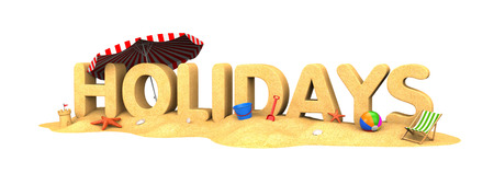 Holidays - the word of sand. 3d illustration
