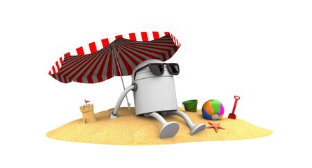 Robot rest on the beach. 3d illustration Imagens - 81338891