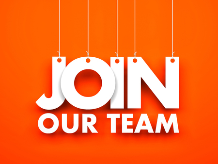 Join our team - text hanging on the ropes Stock Photo