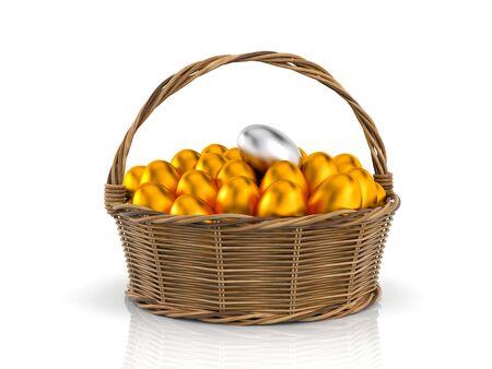 Golden egg! Chicken eggs in rattan basket. 3d illustration Stock Photo