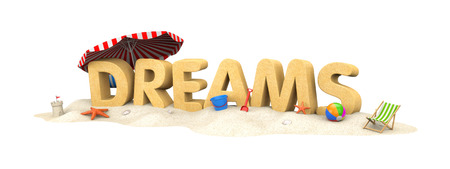 DREAMS - word of sand. 3d illustration