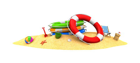 Rescue circles in the sand. 3d illustration Stock Photo