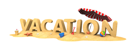 VACATION - word of sand. 3d illustration Stock Photo