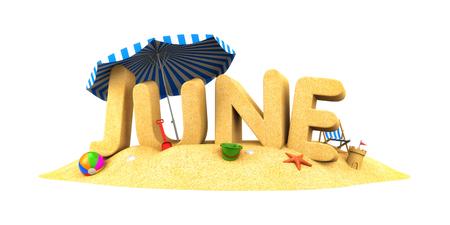 JUNI - woord zand. 3d illustratie