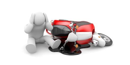 スクーター事故 - 頭痛に座って男。3 d イラストレーション 写真素材 - 83538282