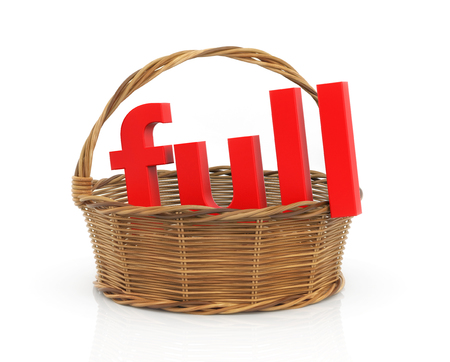 adjective: Red word Full in the basket. 3d illustration