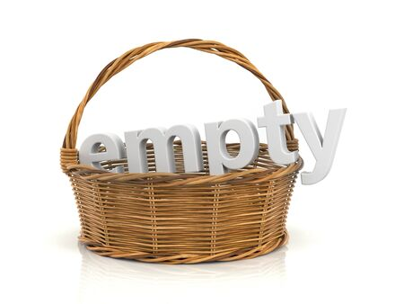 adjective: Empty wooden basket. White word in the basket. 3d illustration